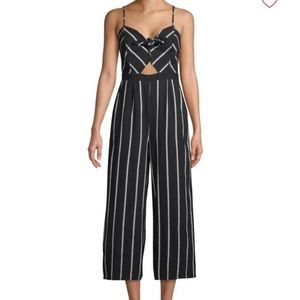 NWT ASTR The Label Striped Bow Cotton Jumpsuit